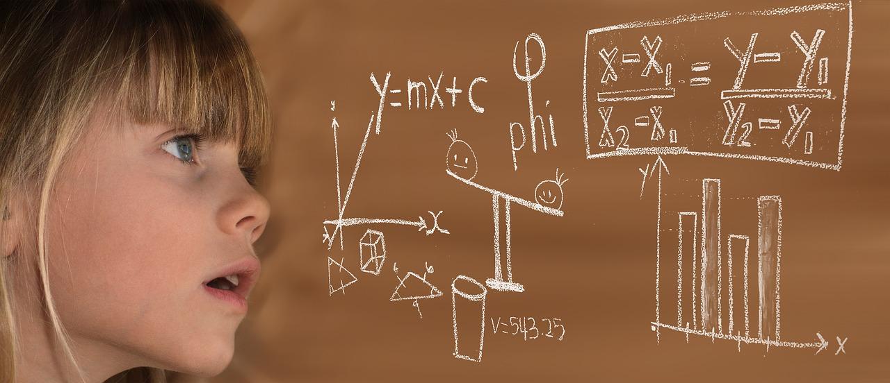 Child doing math equation