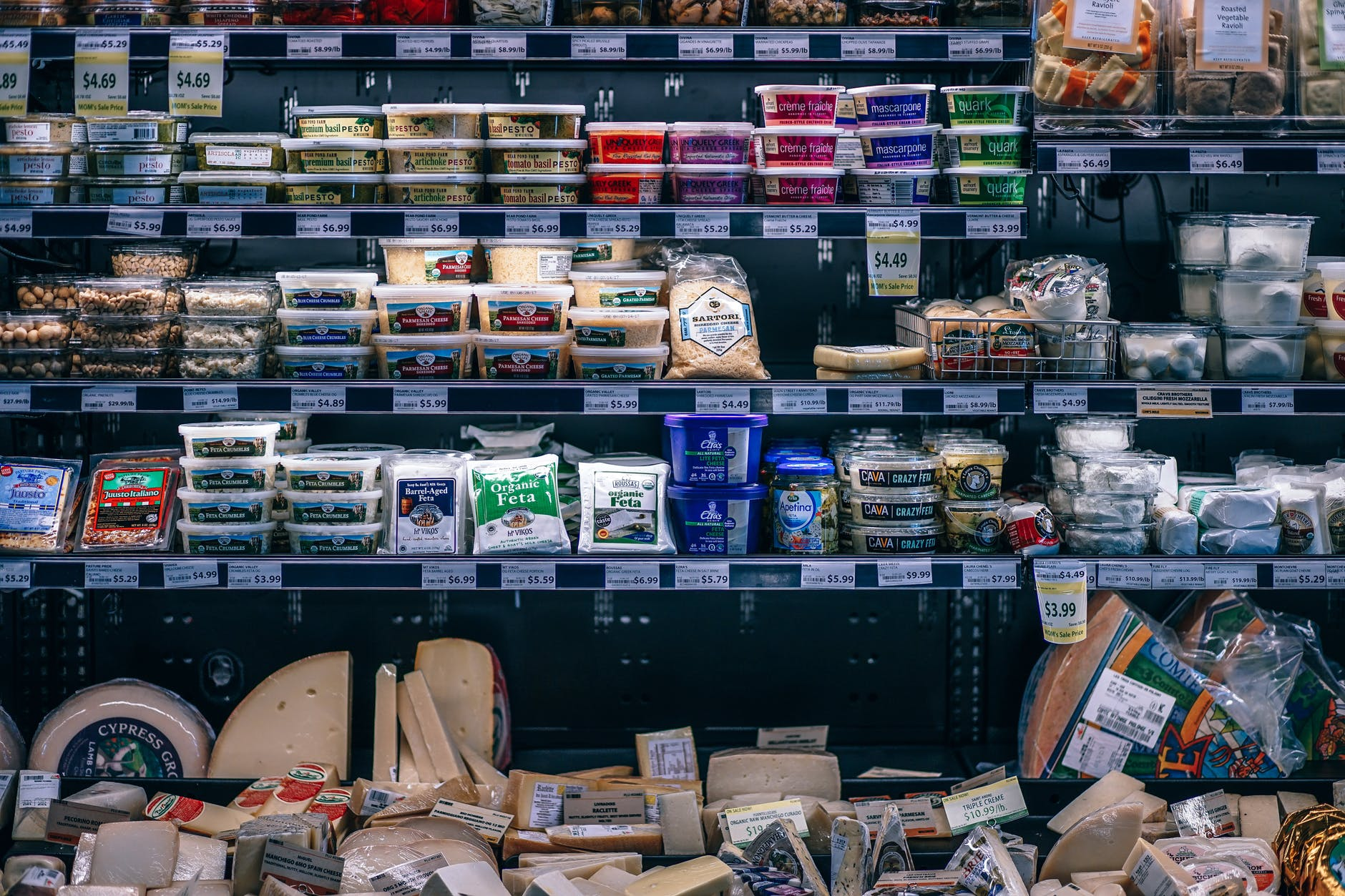 cheese section at the supermarket
