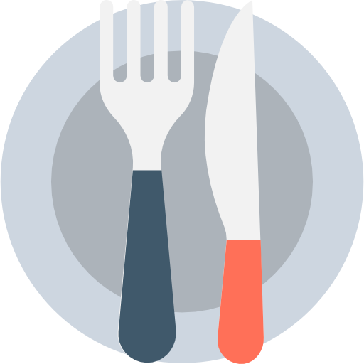 graphic icon of plat with fork and knife