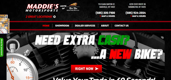 maddie's motorsports website screenshot